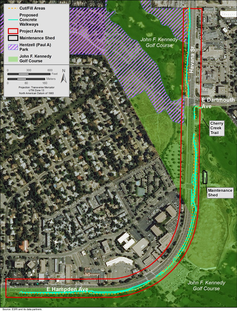 Map of project area along E. Hampden Ave to Havana St, adjacent to Cherry Creek Trail and John F Kennedy Golf Course and Hentzell Park; cut fill areas and proposed concrete walked marked on west side of Havana north of Dartmouth and east side of Hampden to the south