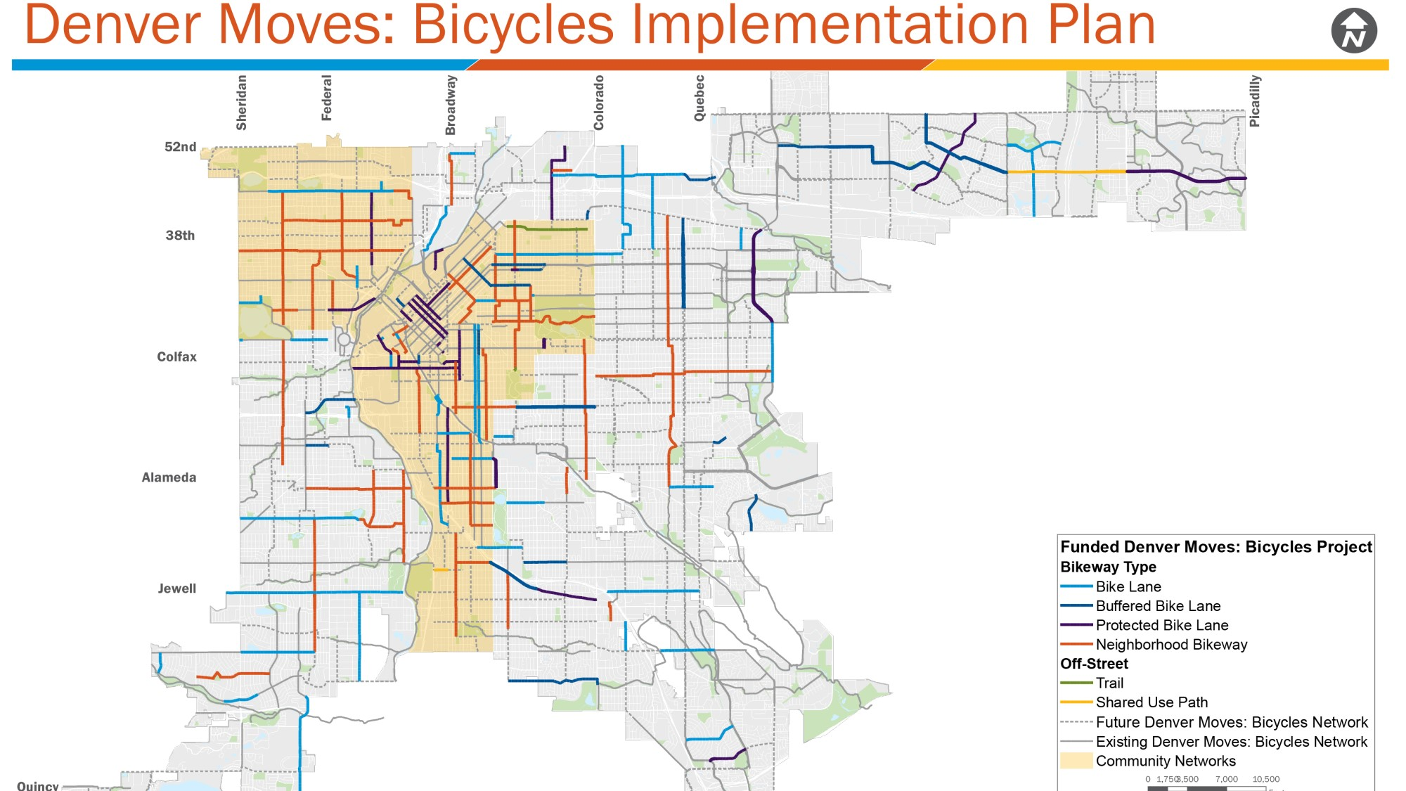 map of denver moves: bicycle implementation plan
