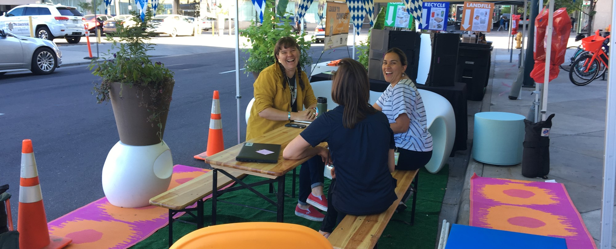 DOTI staff gather at 15th and Court Place to celebrate 2019 Parklet Day