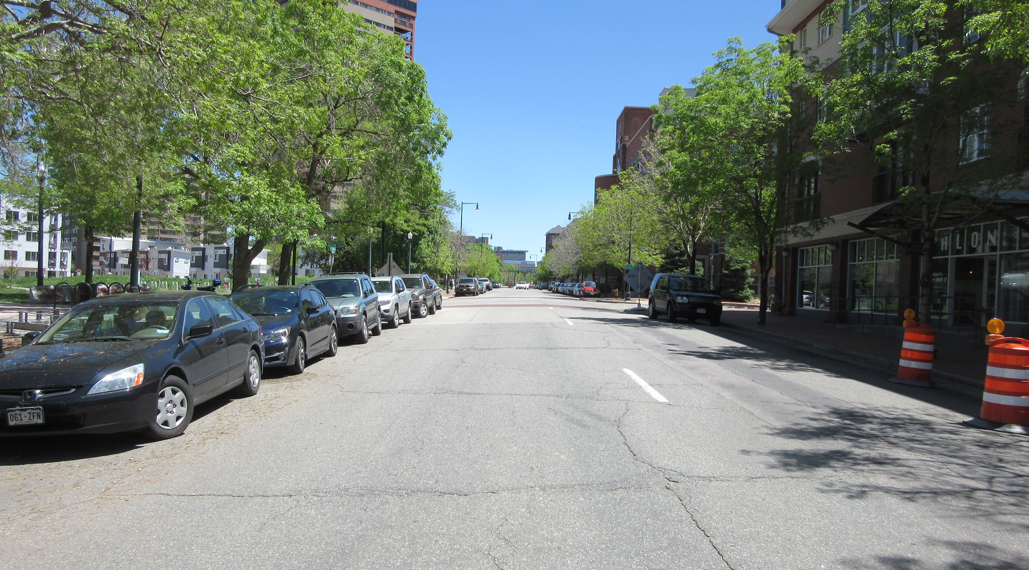 photo of 20th Avenue near Logan Street with street parking and two one-way travel lanes