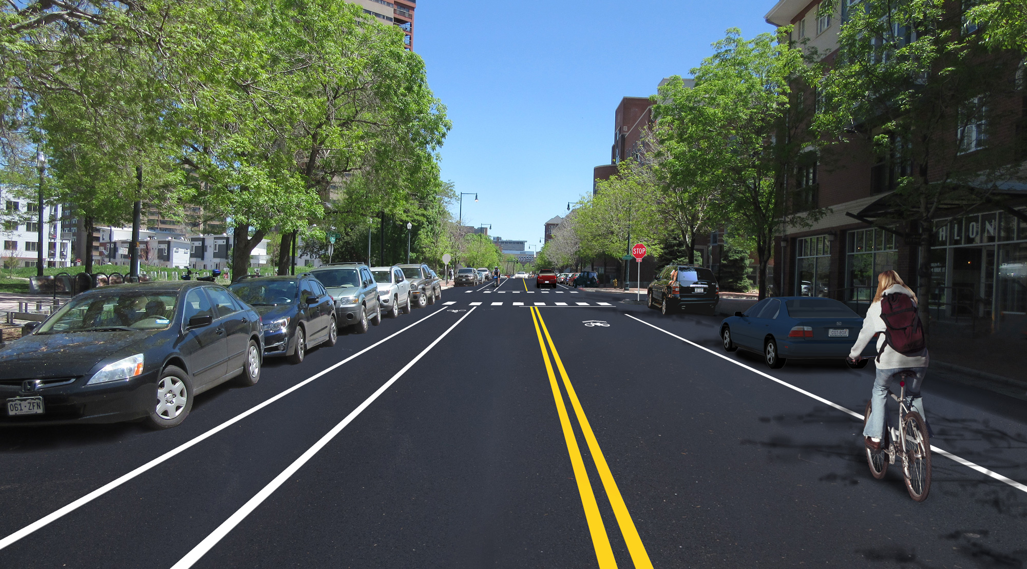 illustration of 20th Avenue near Logan with street parking, two-way travel lanes, westbound bike lane and eastbound sharrows