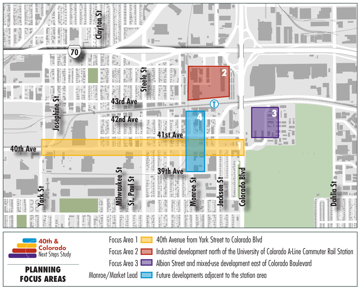40th & Colorado planning focus areas: 40th Ave from York to Colorado, industrial development north of A-Line Commuter Rail Station, Albion Street and mixed-use development east of Colorado Blvd, Monroe/Market future developments