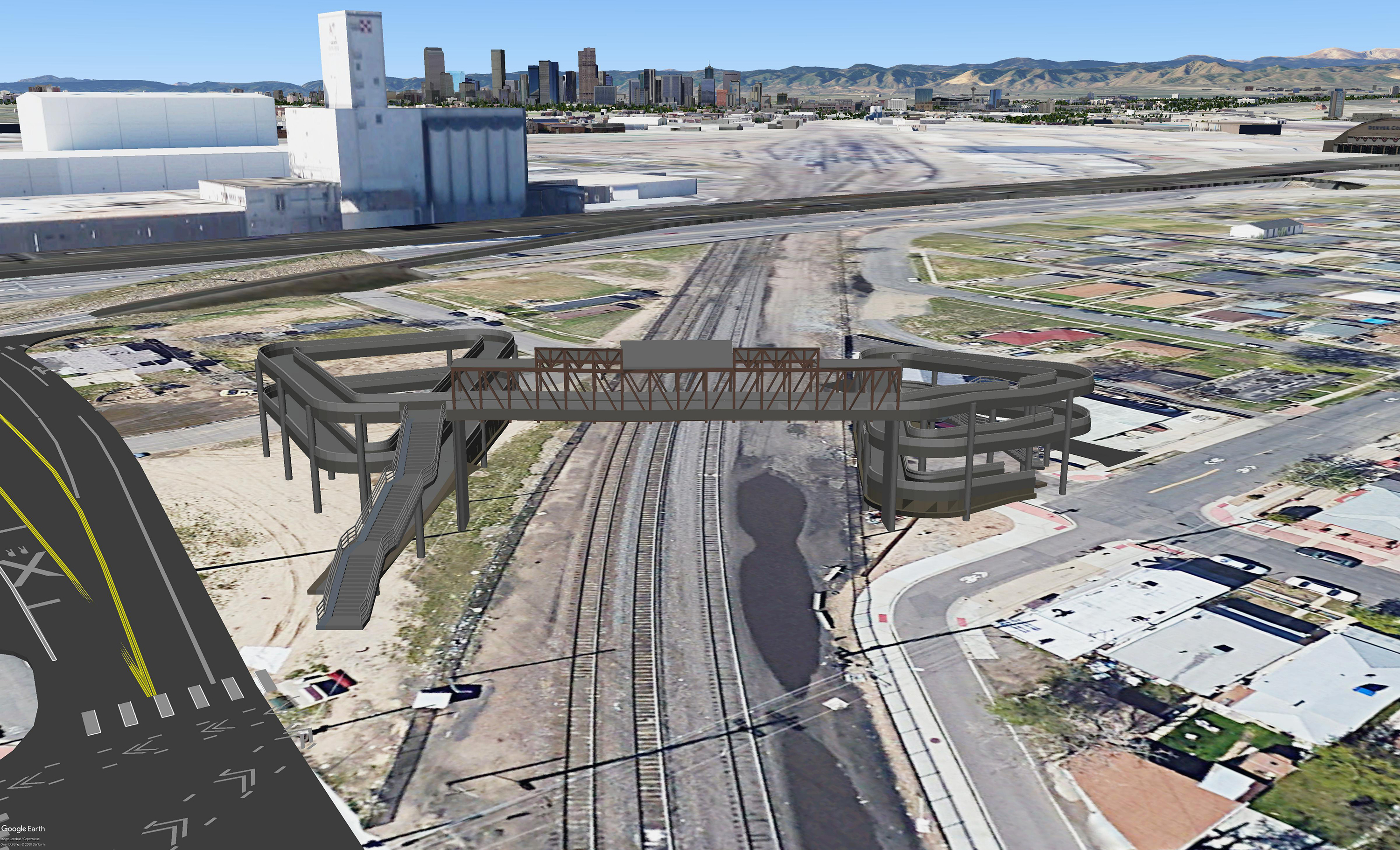rendering of bridge location over tracks, looking west