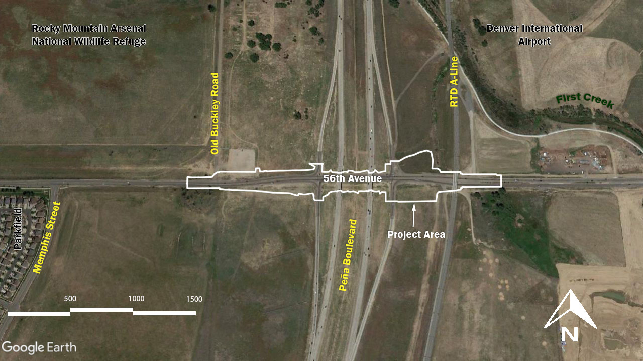 project area map at Pena boulevard and 56th Avenue