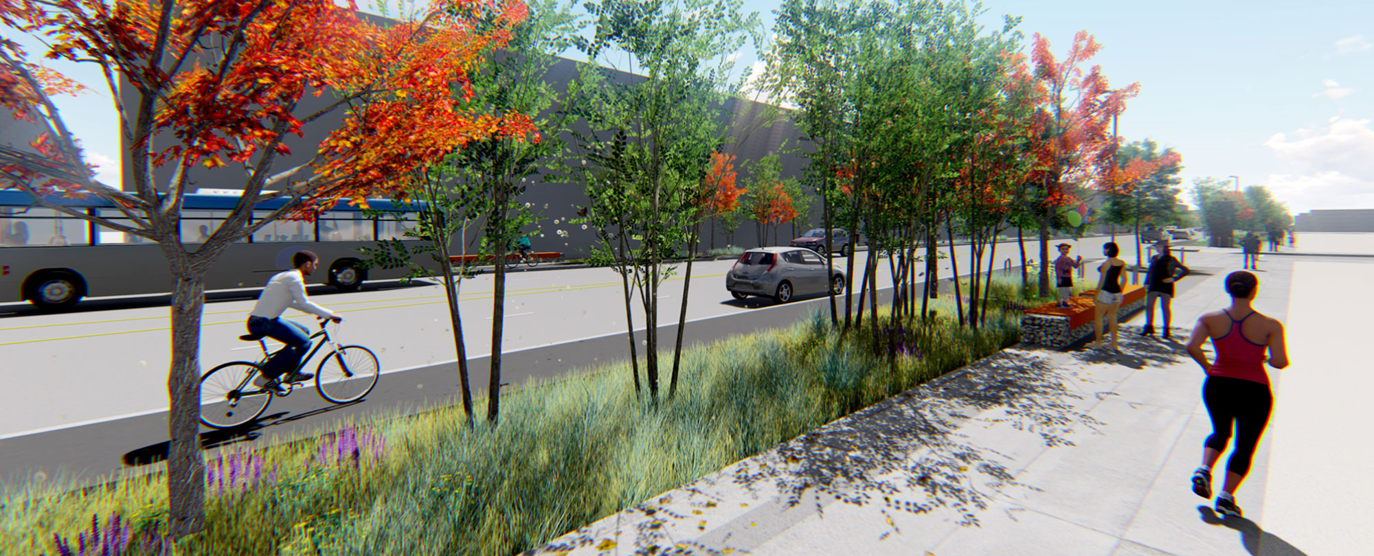 artist rendering of cyclists and new trees along Brighton Boulevard