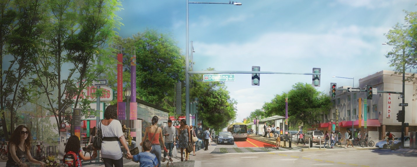 Rendering of Colfax intersection with center lane bus stop and amenities