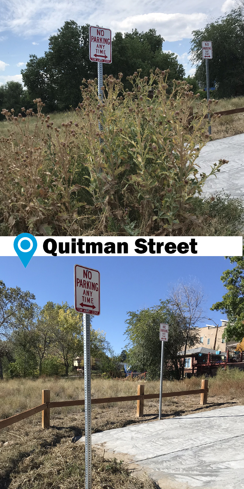 before and after photo of weeds cleaned out around No Parking sign