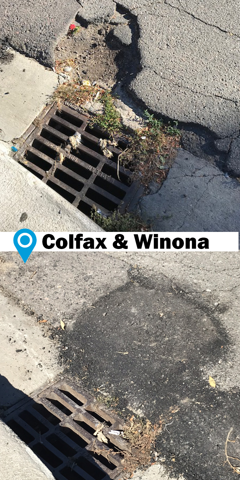 before and after photo of roadway damage repaired near curb and gutter