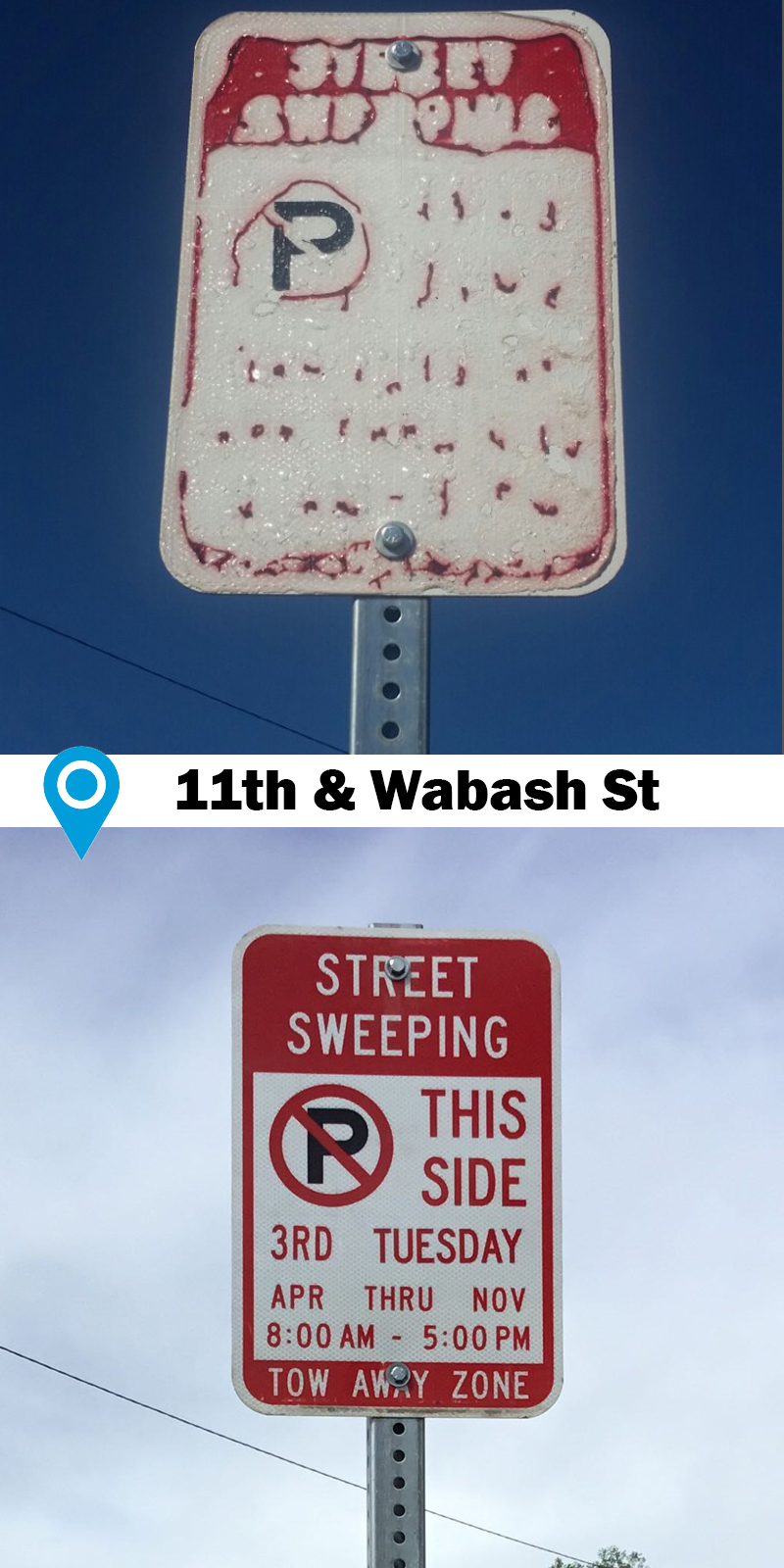 before and after photo of faded street sweeping sign replaced with new readable sign