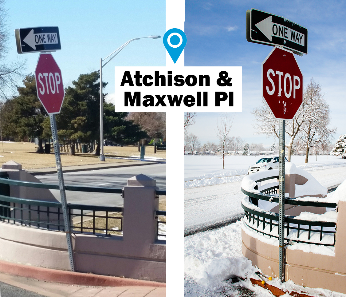 before and after photo of leaning stop sign replaced with new upright post