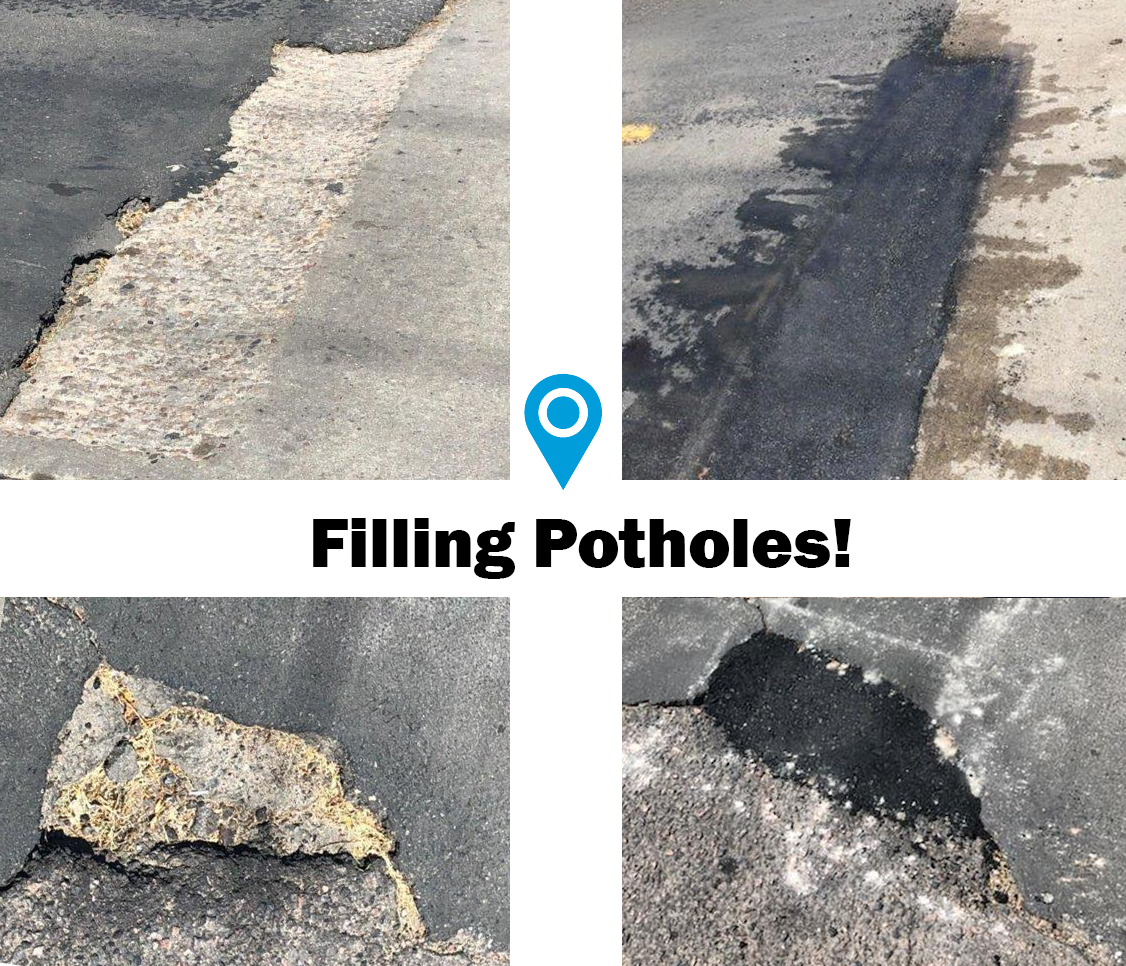 before and after photo of potholes on roadway and new asphalt patching