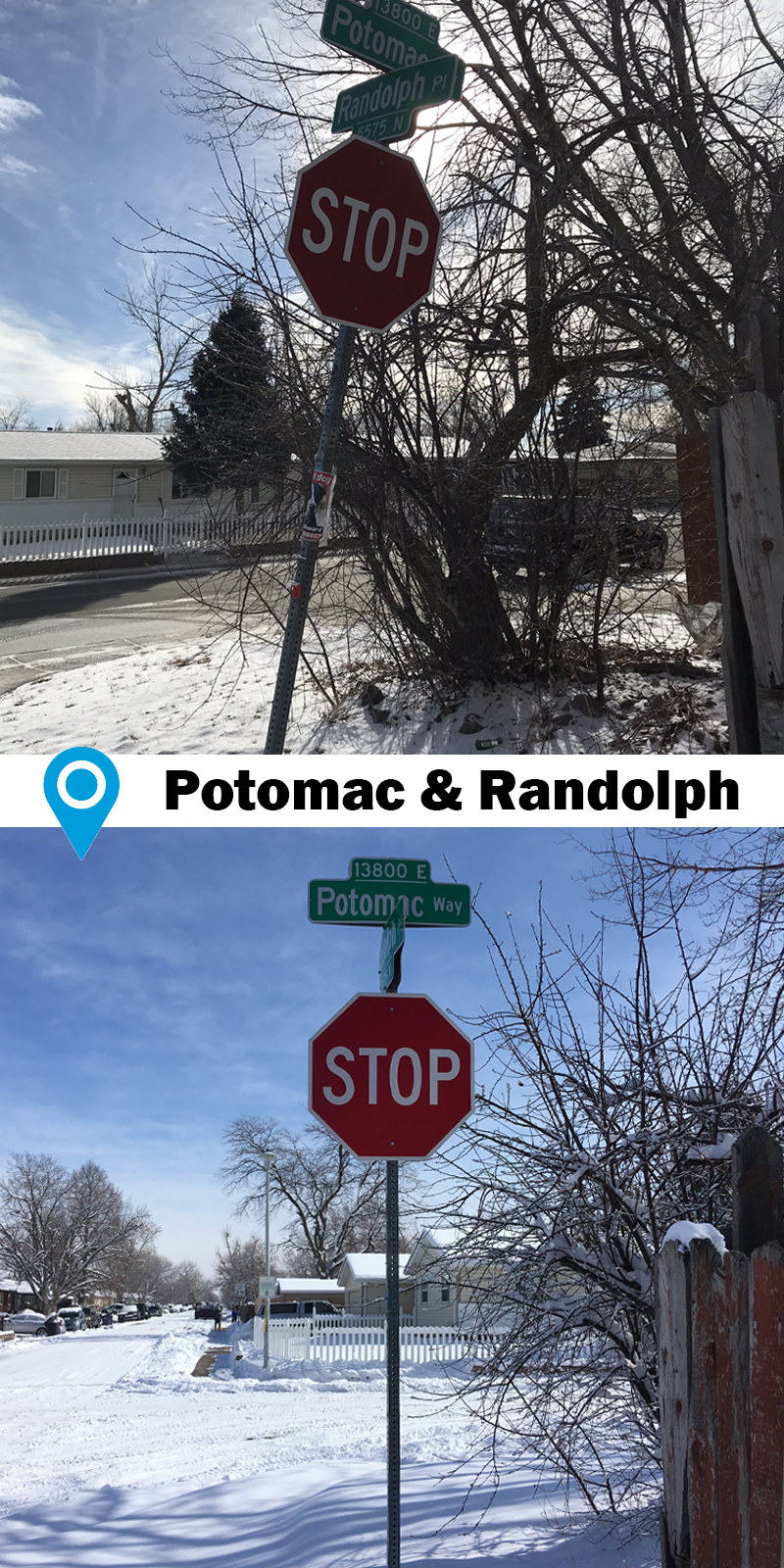 before and after of bent stop sign at intersection replaced with new sign