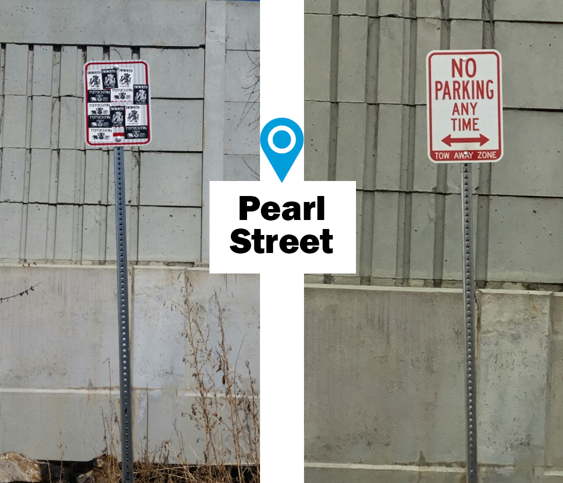 street sign covered in stickers replaced with new readable No Parking sign