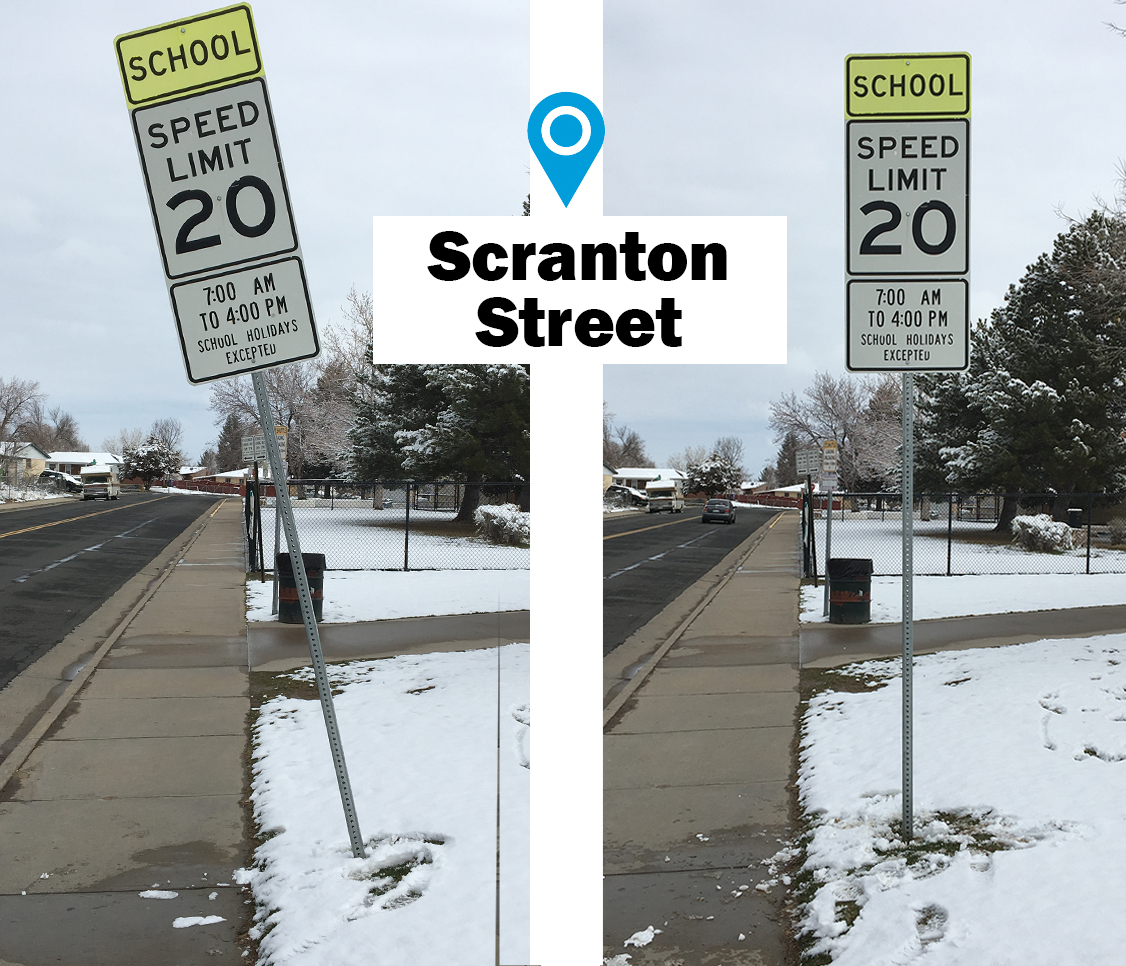School zone sign before and after, with crooked falling sign replaced with new post