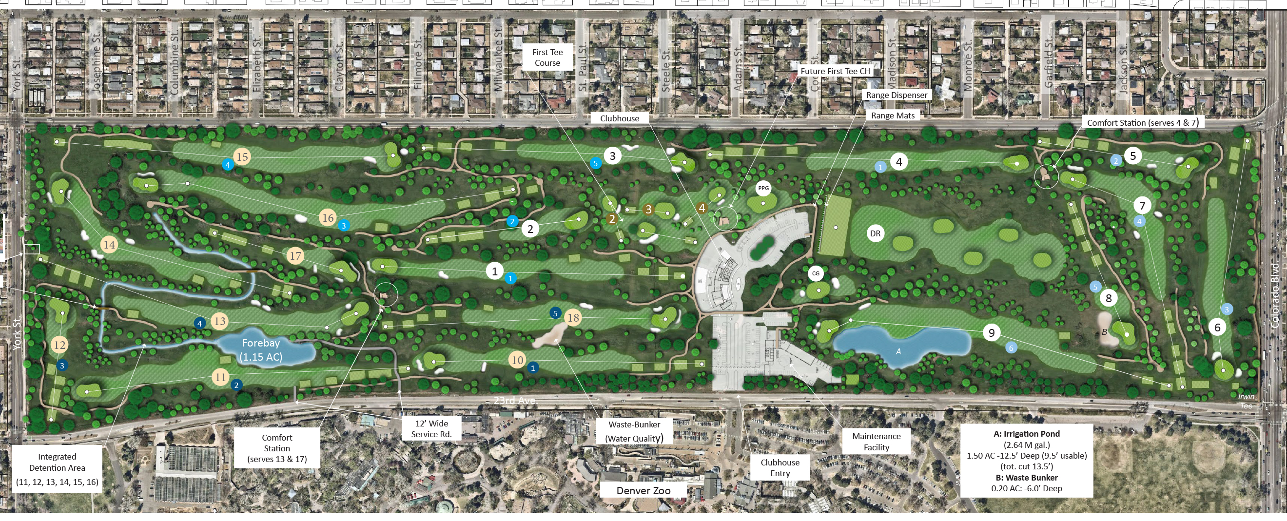 proposed map of new golf course holes and amenities