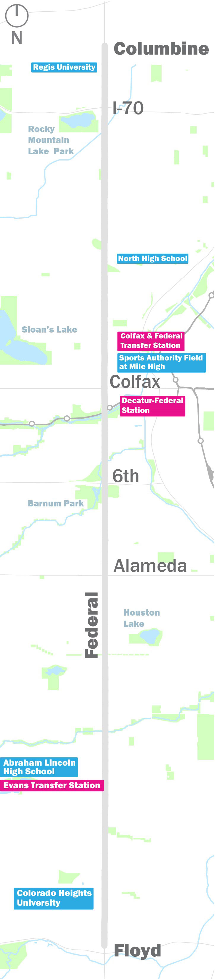 Federal Blvd map from Floyd in the south to Columbine in the north, highlighting key destinations on the corridor near Colfax