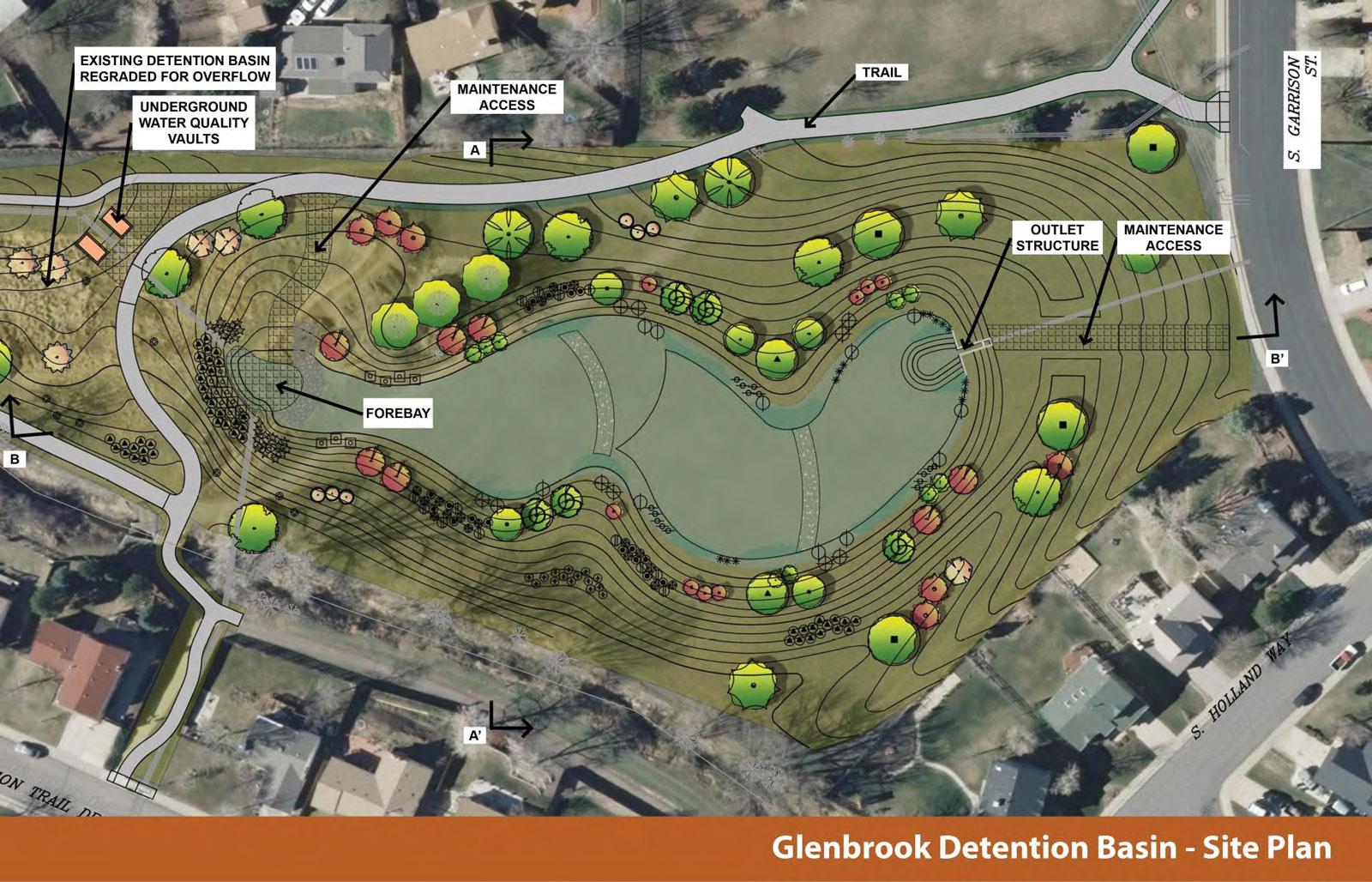 Glenbrook stormwater detention basin denver public works for Design of stormwater detention ponds