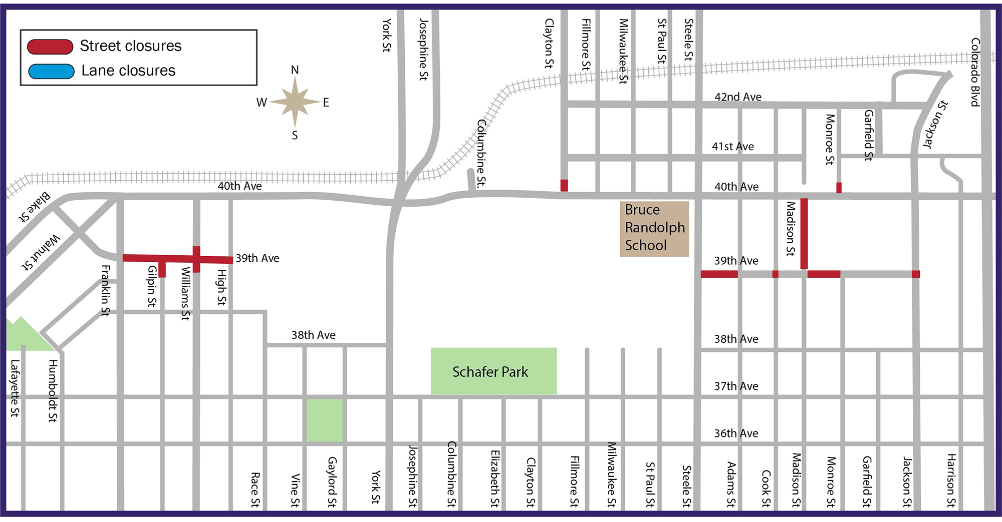 map showing current closures around 39th Avenue work sites