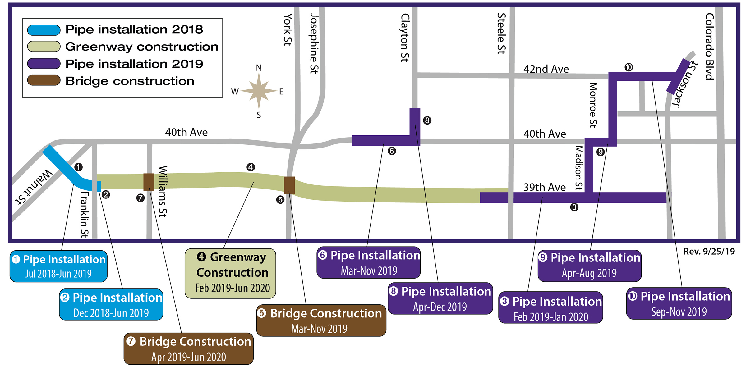 map of projects along 39th avenue with start dates listed