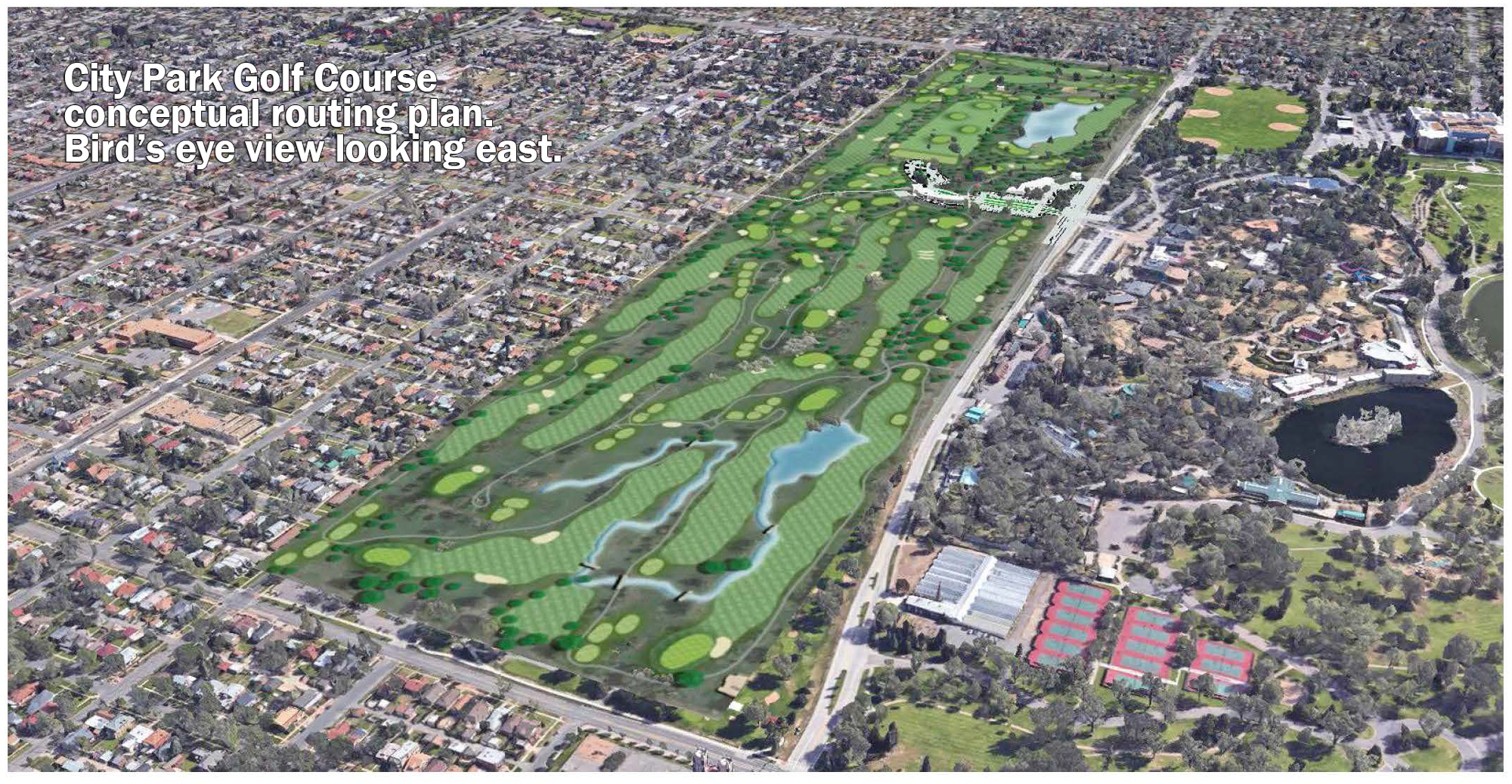 aerial view of proposed new golf course and detention areas, looking east