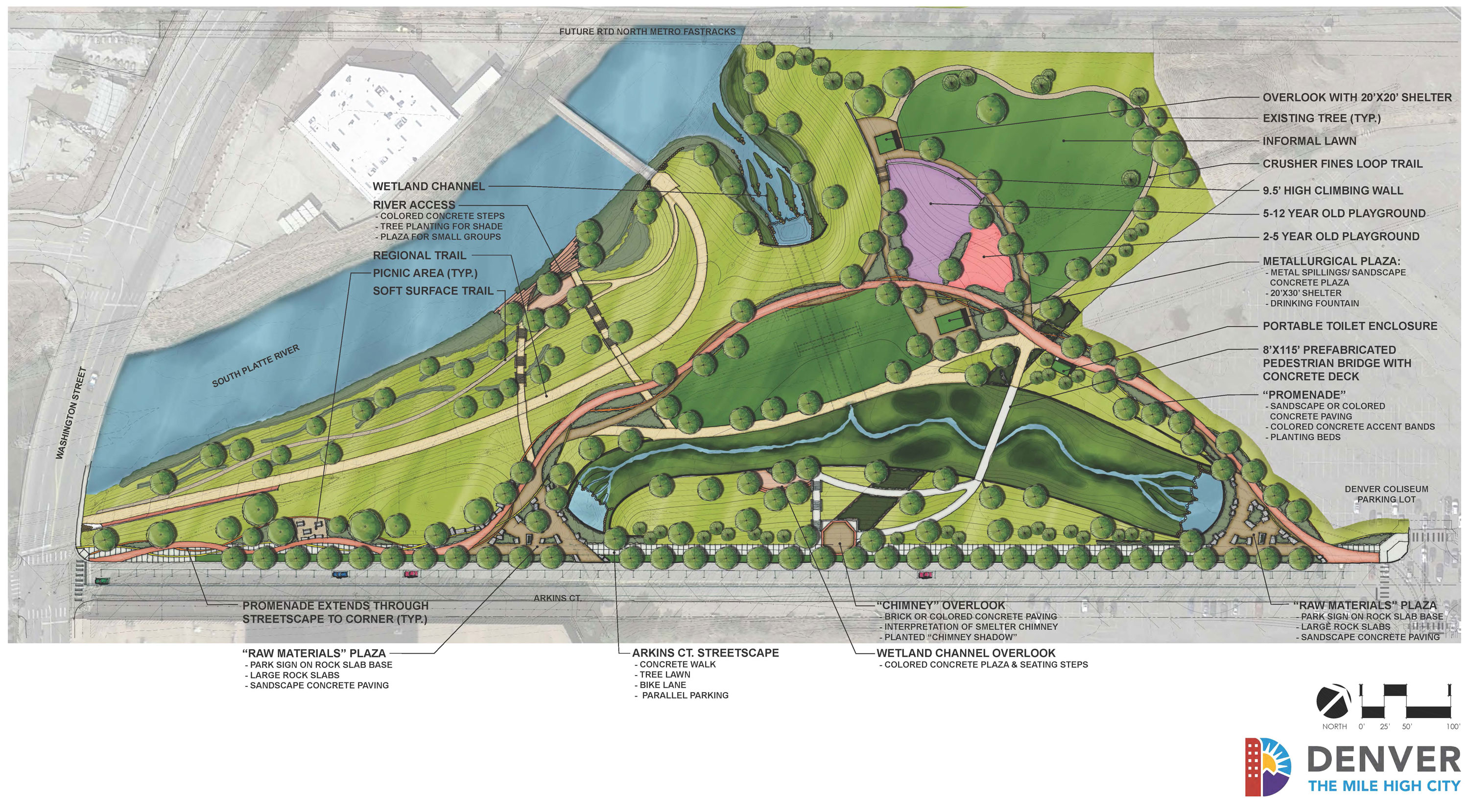 proposed map of new park layout with amenities labeled