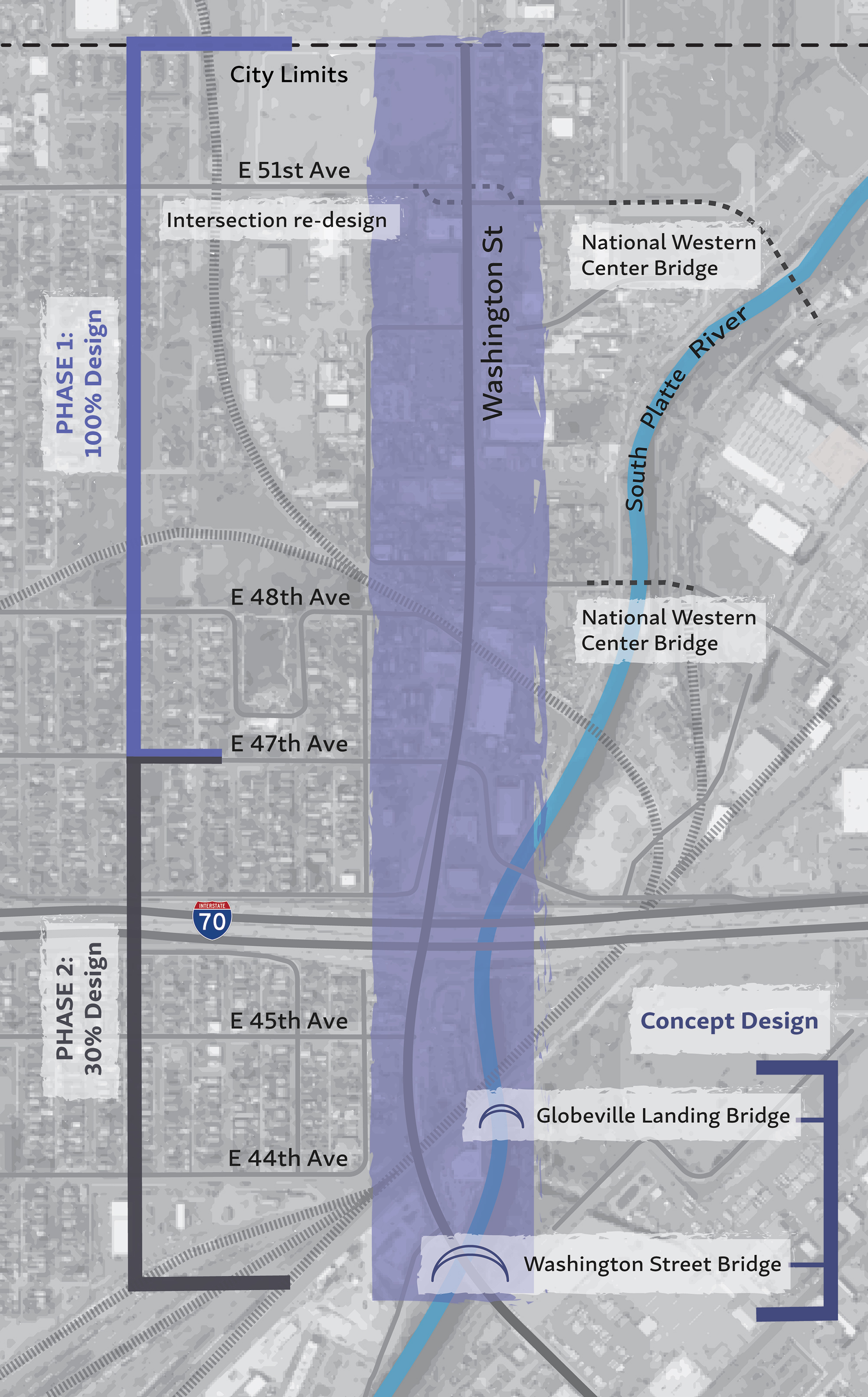 map of Washington Street corridor showing design phase areas and connecting projects