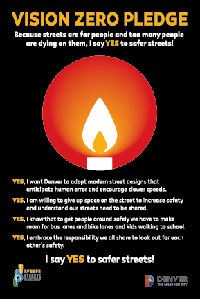 Vision Zero pledge card, saying Yes to Safer Streets