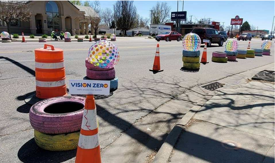 cones and temporary barriers on street