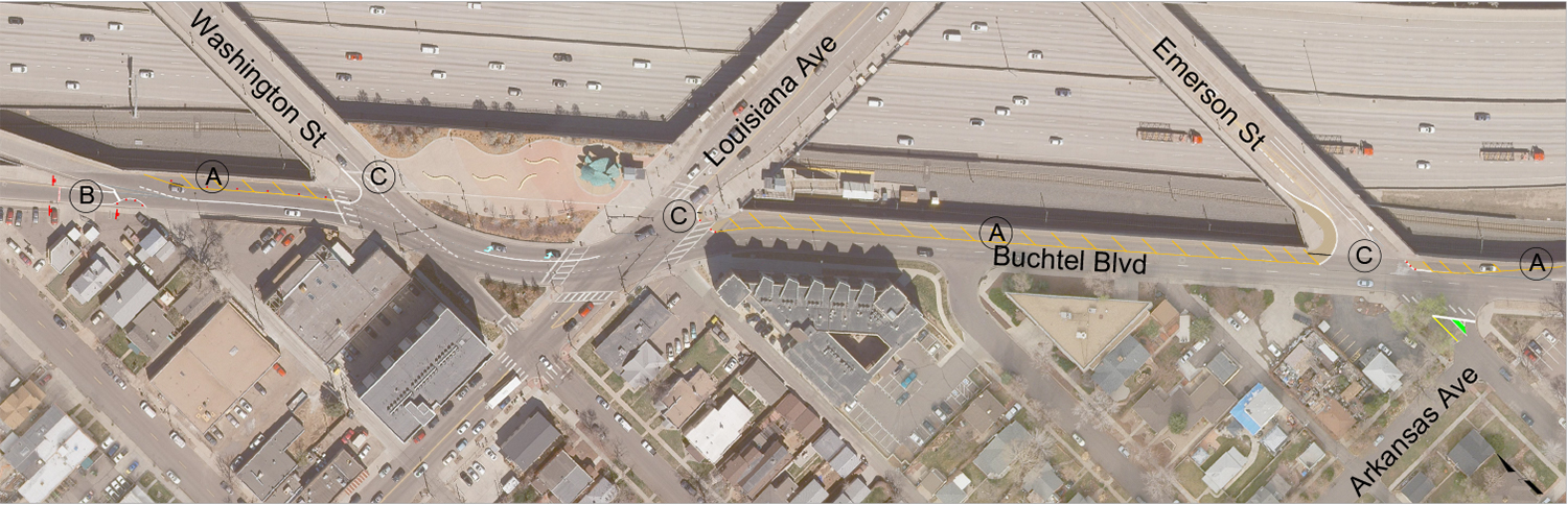 Map highlighting traffic improvements on Buchtel Boulevard at Interstate 25