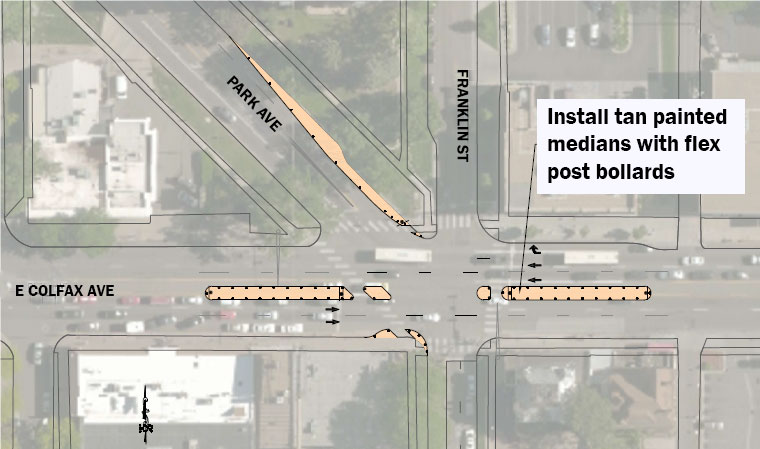 Map highlighting Colfax, Park and Franklin intersection highlighting new improvements