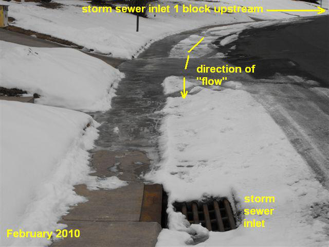 ice on residential street between storm sewer inlets