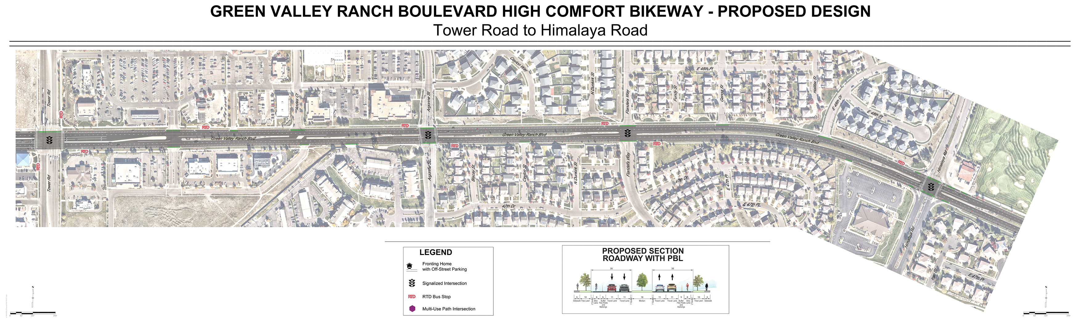 map of western half of proposed bikeway