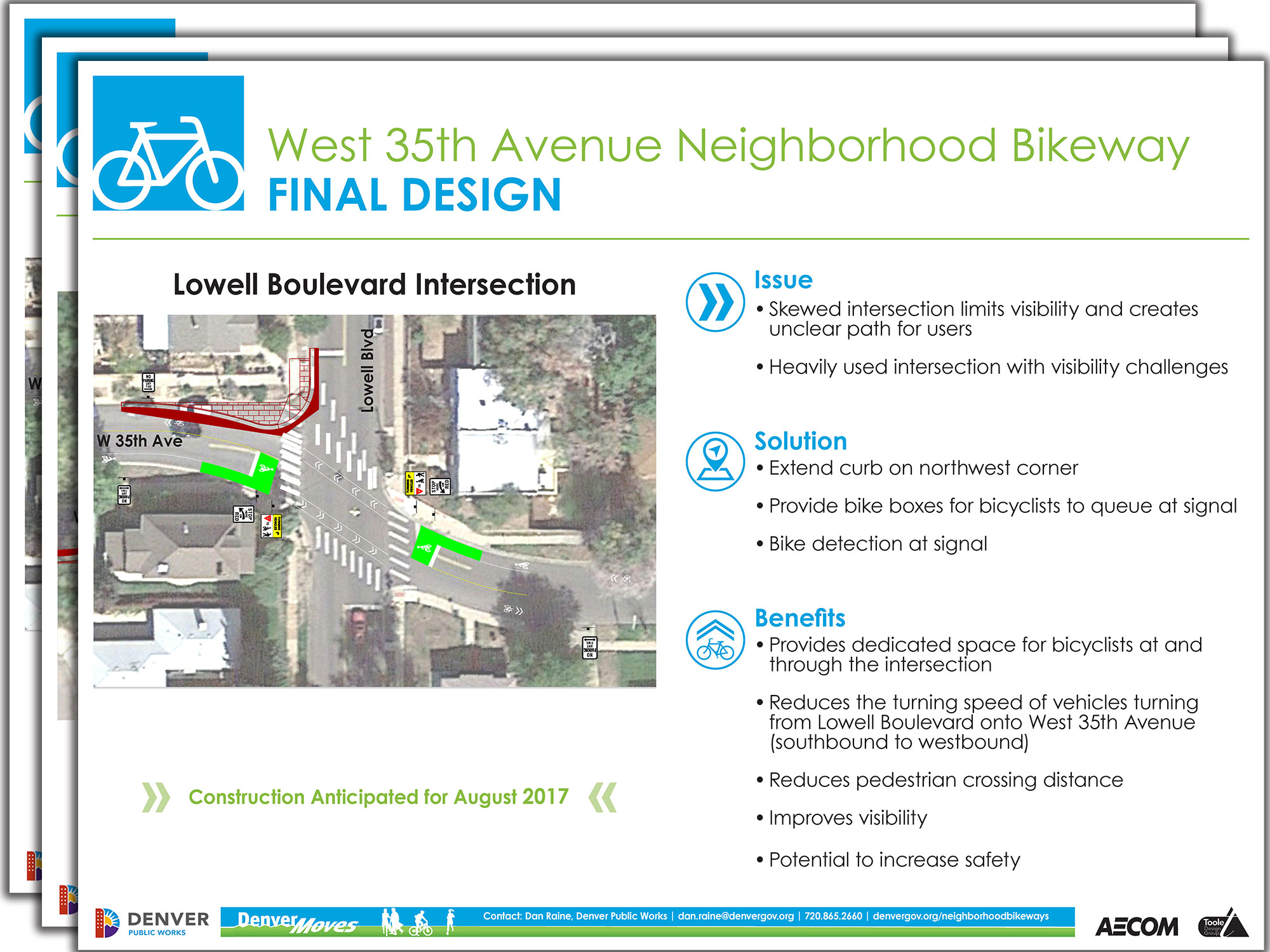preview of presentation boards showing intersections along W 35th Ave