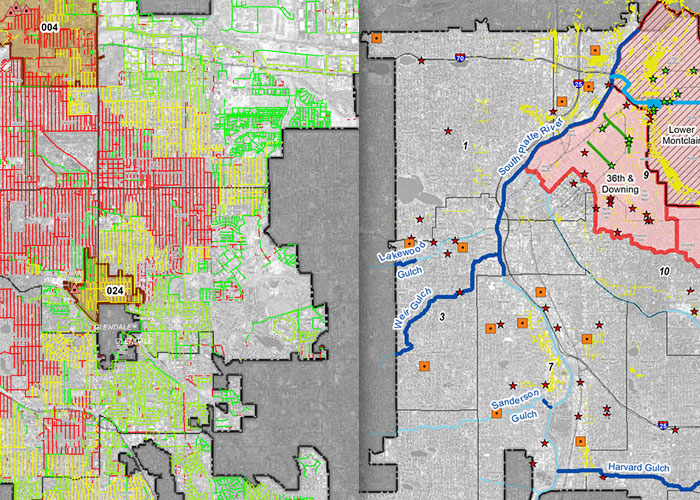 CIP icon: maps showing sanitary and storm improvements in Denver