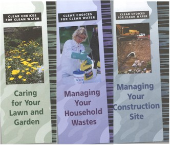 Clear Choices brochure covers: Caring for your Lawn and Garden, Managing your Household Wastes, Managing your Construction Site