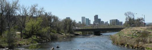 South Platte River with downtown Denver visible in background
