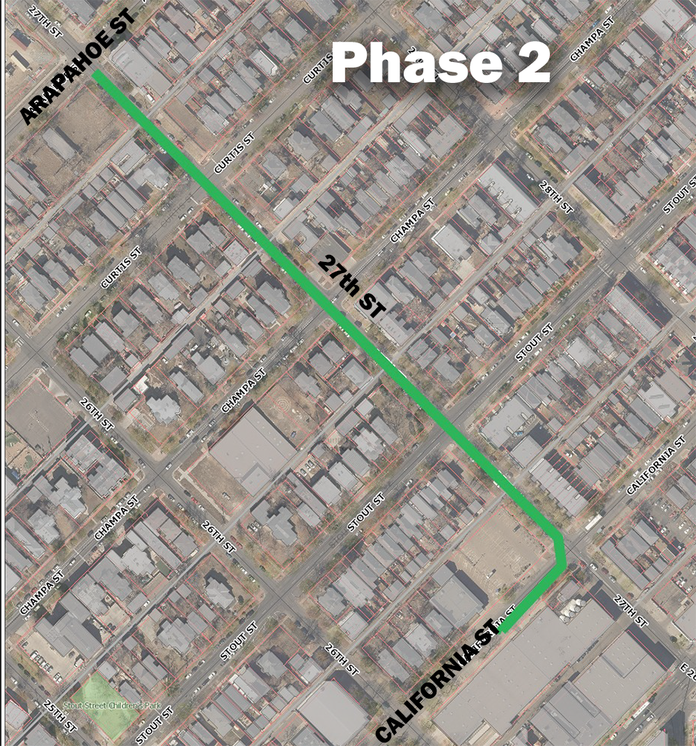 map of project area on 27th Street in Five Points neighborhood