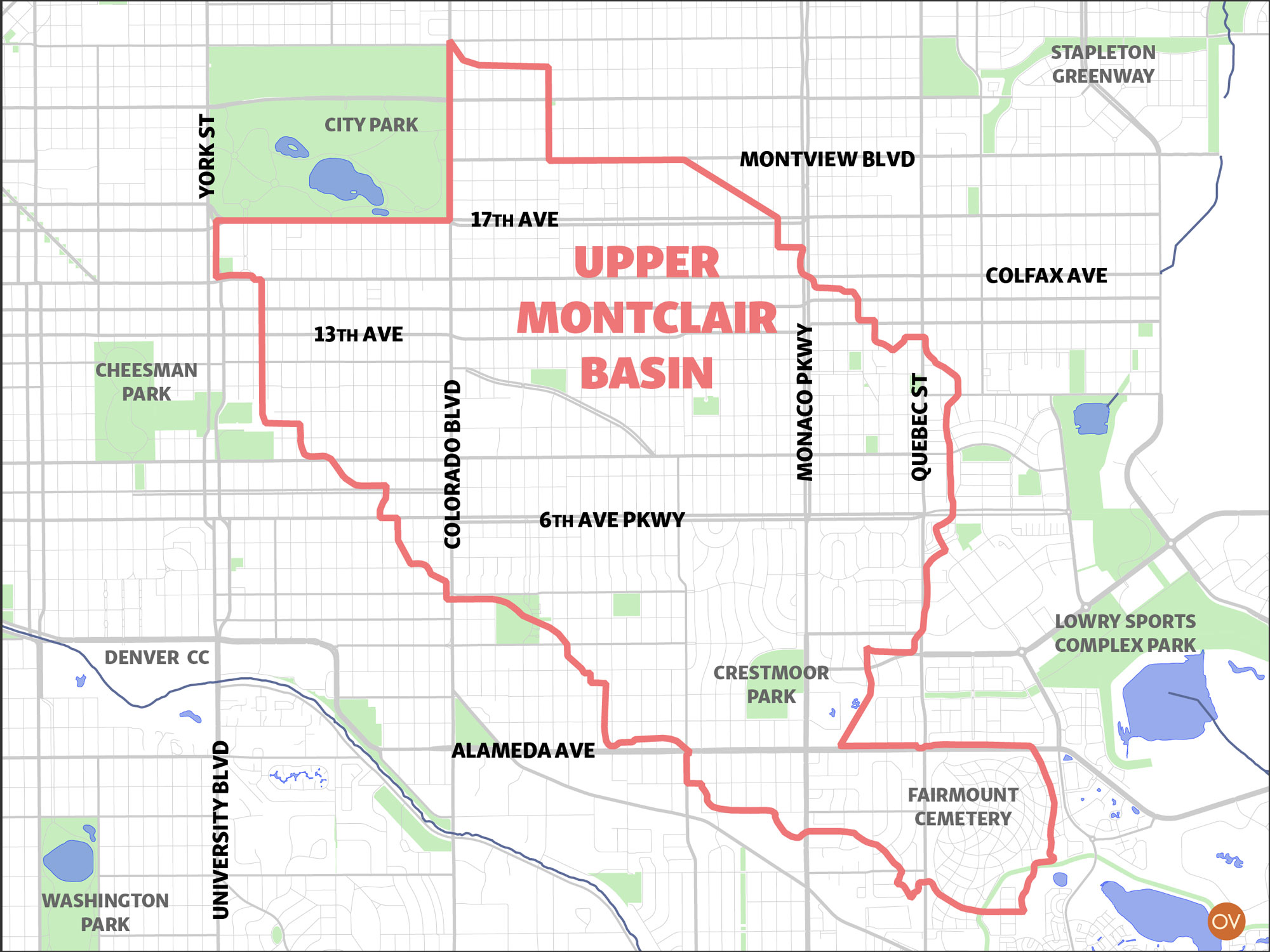 Map of Upper Montclair Basin and study area, from City Park in north to Fairmont Cemetery in south
