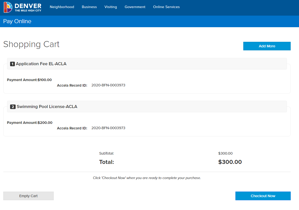 Screenshot of Pay Online page showing Shopping Cart