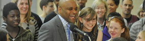 Photo of Mayor Michael B. Hancock with MyDenver Card youth participants