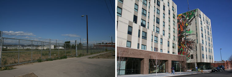 before and after of south lincoln housing development showing new buildings on right