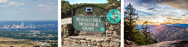 First image is of the city of Denver from a distance. The Second image is of the sign for the Buffalo Bill Museum. The third image is of the sun setting behind the mountains as viewed from the mountain.