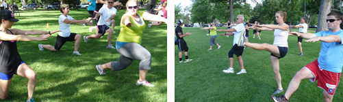 fitness classes in a park