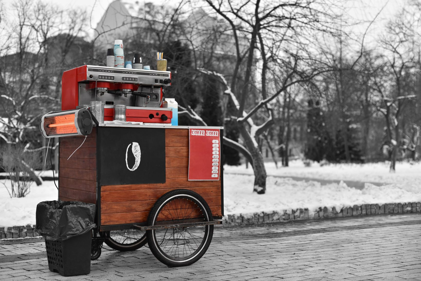 Coffee Cart in Civic Center Park in the Winter