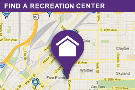 image of a map with the text on the image reading 'find a recreation center' image links to another page