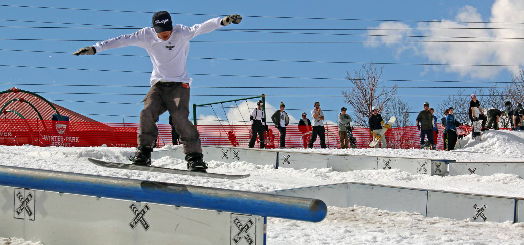 snowboarder riding at Ruby Hill Rail Yard