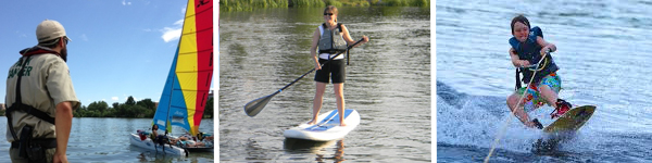 water skiing and boating on lakes in Denver parks
