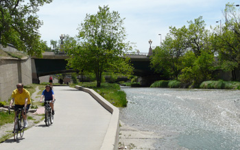 Bikers on the Cherry Creek Trail.