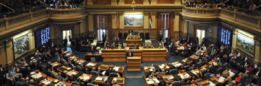 An overhead view of the State of Colorado chambers.