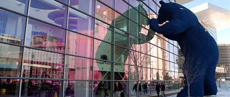 Big Blue Bear peers into the Colorado Convention Center located in downtown Denver.